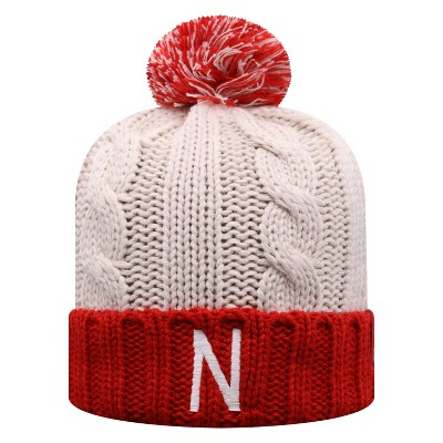 NCAA Nebraska Cornhuskers Women's Natural Cable Knit Cuffed Beanie with Pom