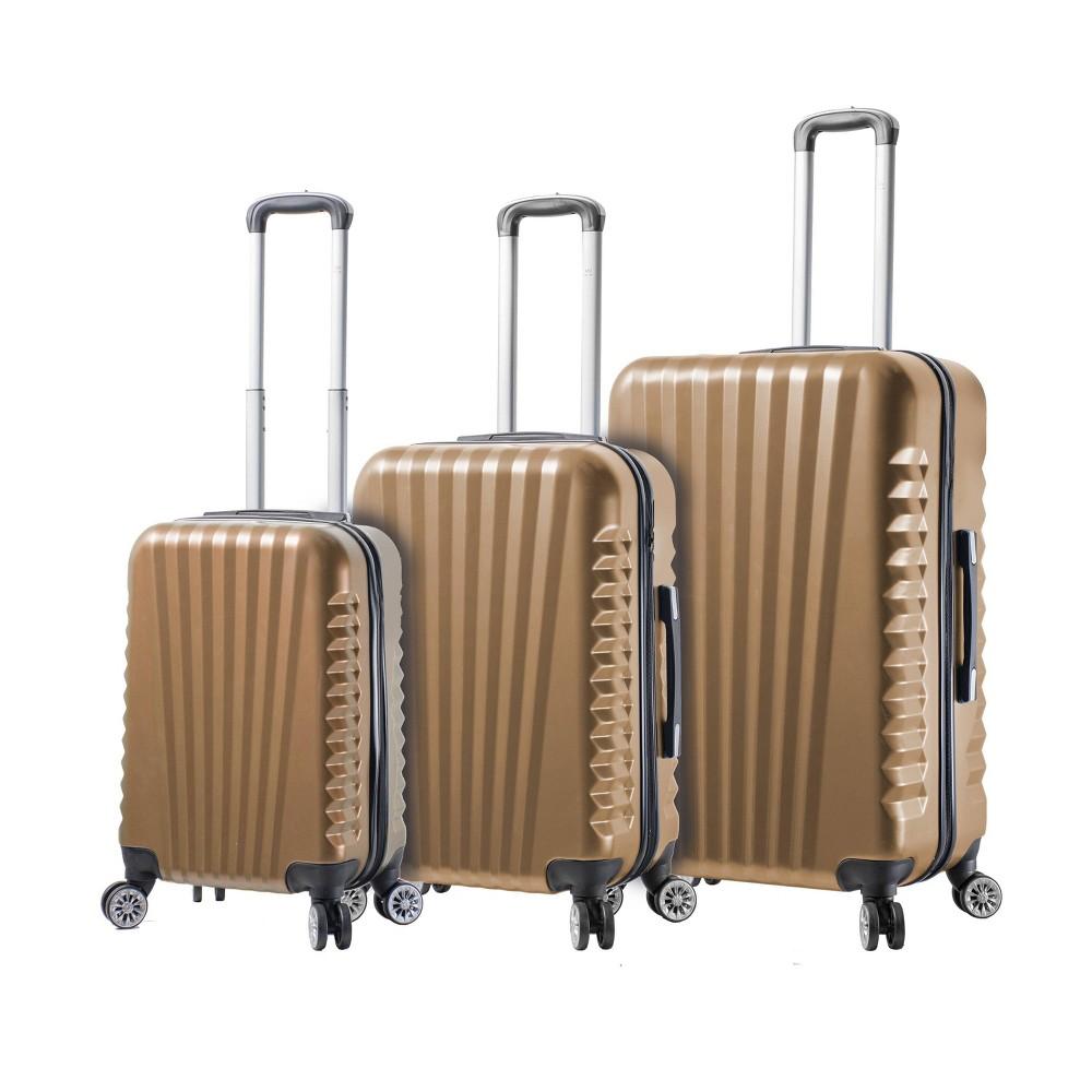 Mia Viaggi Italy Catania 3pc Hardside Luggage Set - Champagne (Beige)