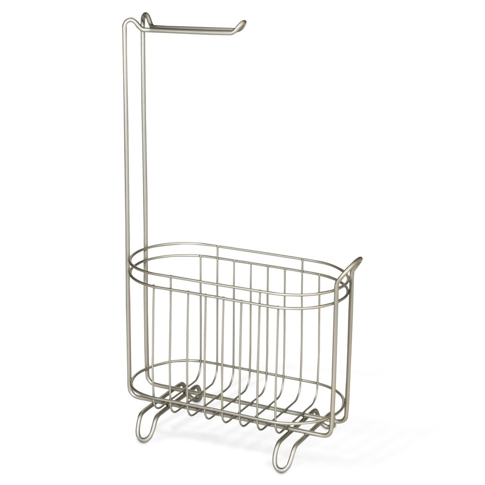 Image of Reserve Basket Pearl With Freestanding Toilet Tissue Holder Silver - Threshold