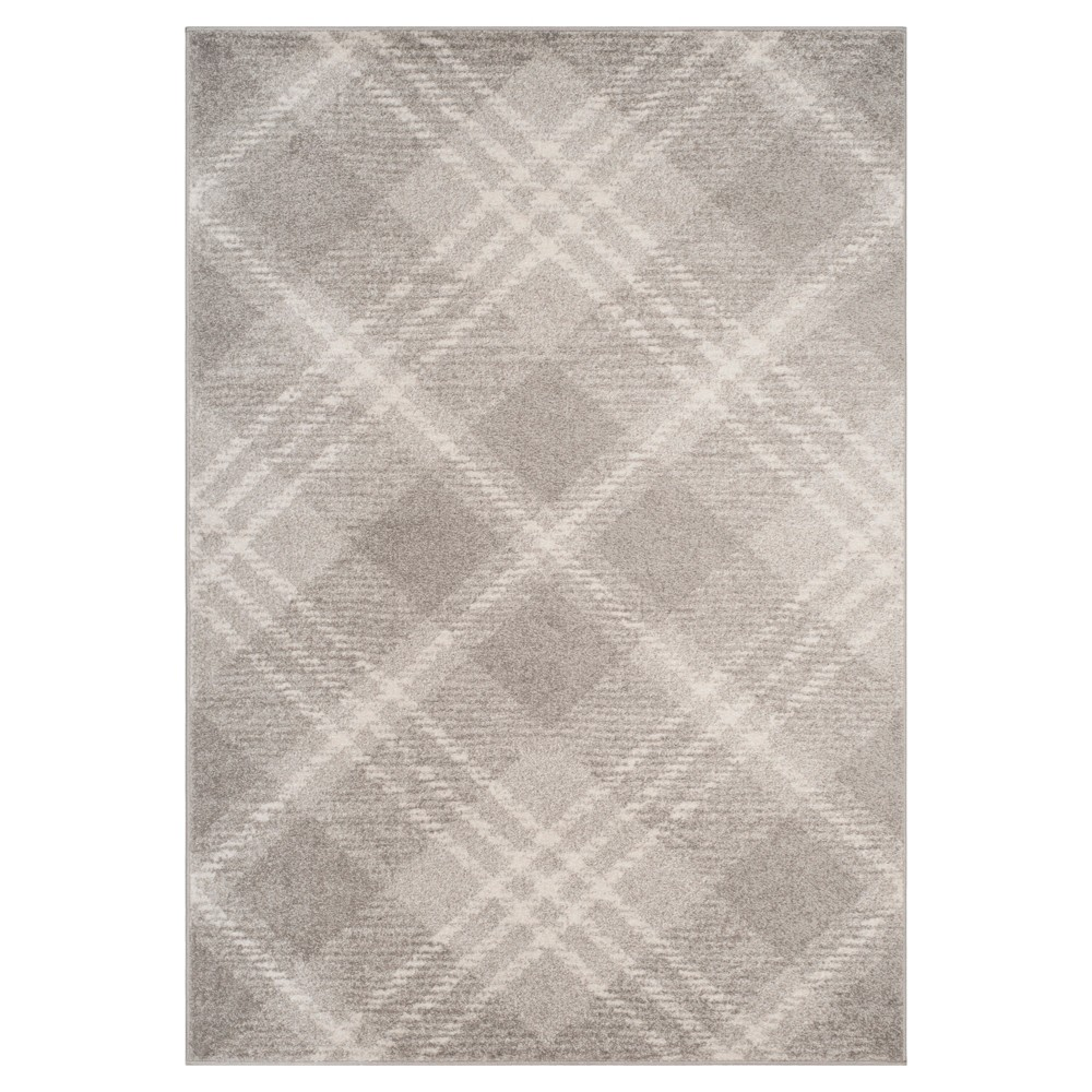 Light Gray/Ivory Plaid Loomed Area Rug 6'X9' - Safavieh, Gray White