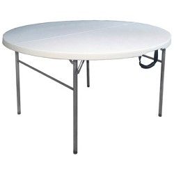 "60"" Round Folding Table Off-White - Plastic Dev Group"