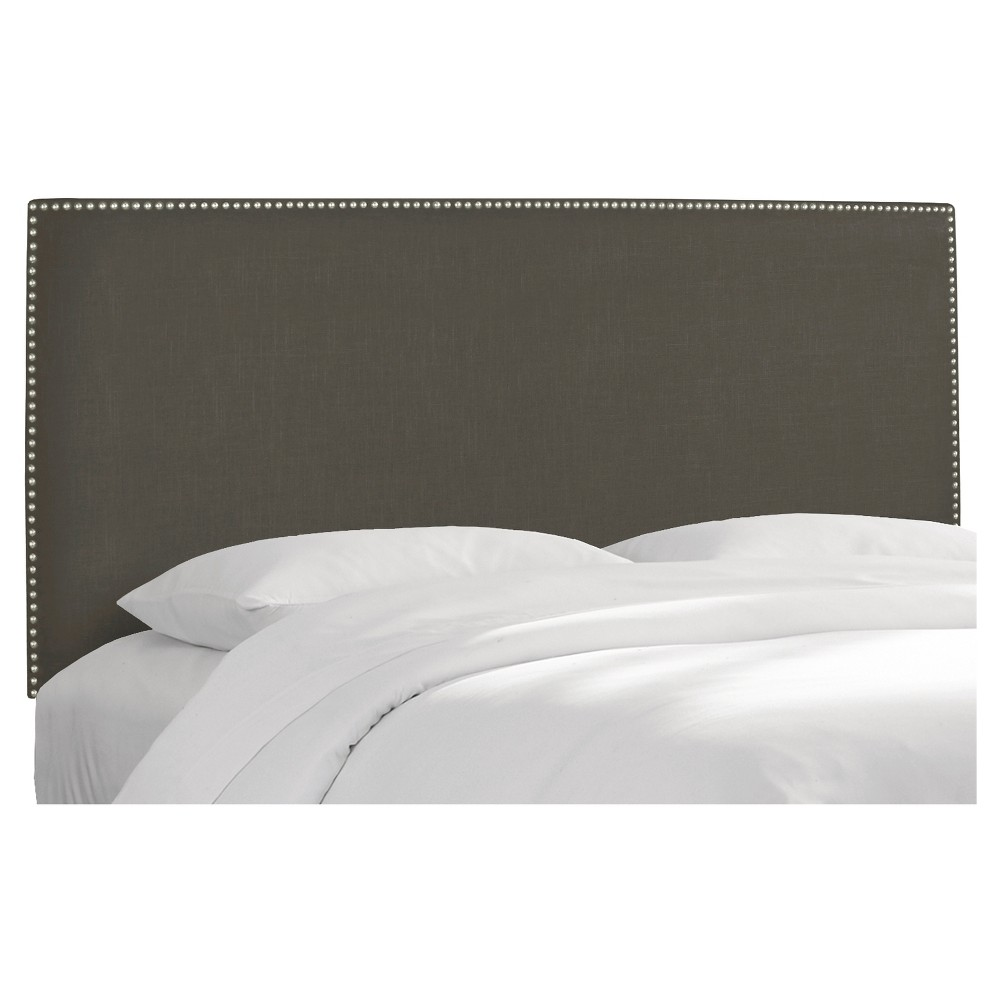 Queen Arcadia Nailbutton Headboard Linen Slate with Pewter Nail Buttons - Skyline Furniture, Leisure Slate
