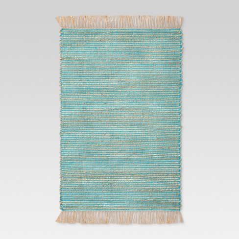 "Aqua Thin Stripe Woven Accent Rug 2'6""X4'/30""X48"" - Threshold™ - image 1 of 2"