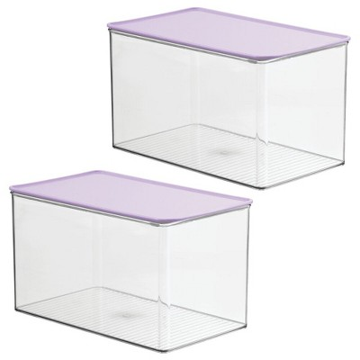 mDesign Plastic Stackable Closet Storage Bin Box with Lid, 2 Pack