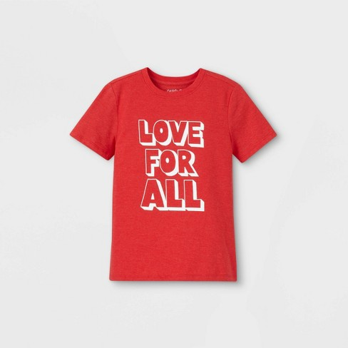 Boys' 'Love For All' Graphic Short Sleeve T-Shirt - Cat & Jack™ Red - image 1 of 2