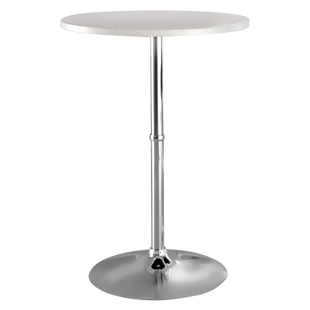 ioHomes Kelli Round Bar Table - White, White Opaque