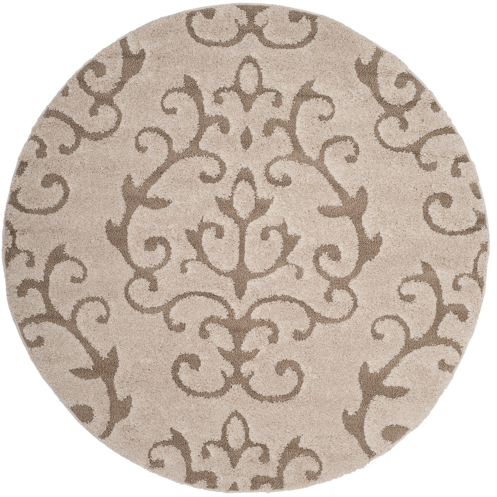 Cream/Beige (Ivory/Beige) Swirl Loomed Round Area Rug 6'7 - Safavieh