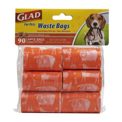 Glad Tropical Breeze Scent Dog Waste Bags Refill Rolls - 90ct
