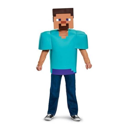 Kids' Minecraft Steve Halloween Costume Top - image 1 of 4