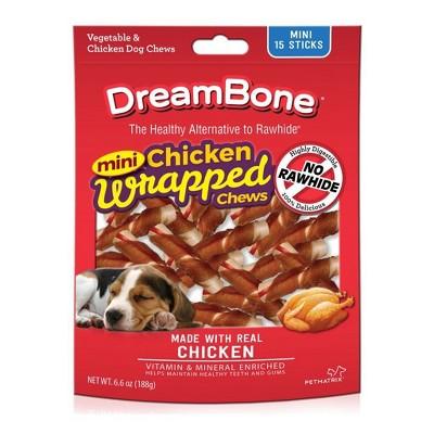 DreamBone Rawhide Free Dog Chews Mini Real Chicken Wrapped Sticks Dental Chews Dog Treats - 15pk