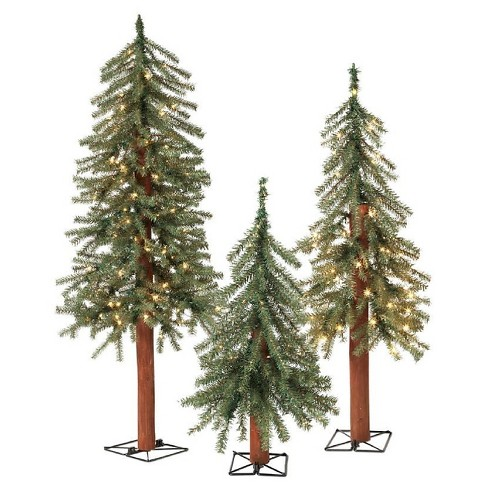 2ft/3ft/4ft Pre-Lit LED Alpine Artificial Christmas Tree Slim with Metal Wire Base 3ct - image 1 of 1
