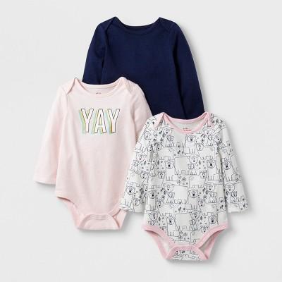 Baby Girls' 3pc Long Sleeve Yay Bodysuit Set - Cat & Jack™ Pink/Cream/Navy 3-6M
