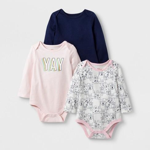 Baby Girls' 3pc Long Sleeve Yay Bodysuit Set - Cat & Jack™ Pink/Cream/Navy 3-6M - image 1 of 1