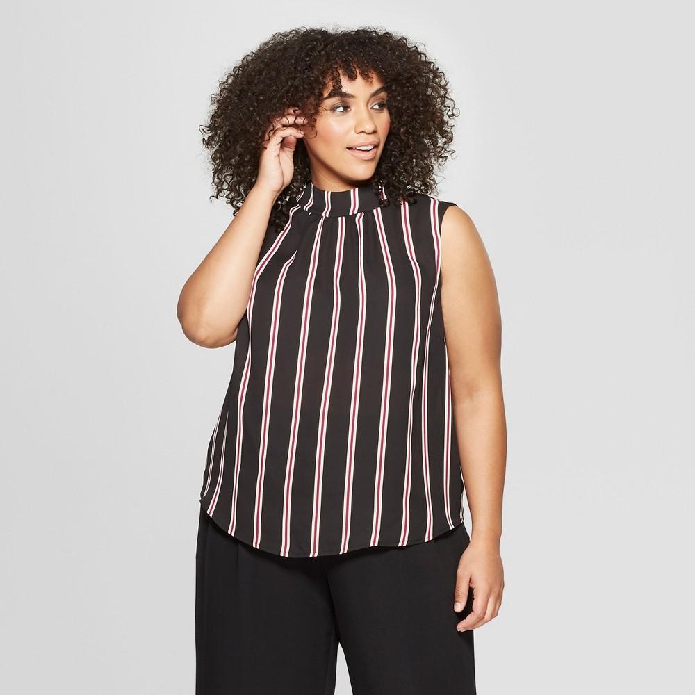 Women's Plus Size Striped Mock Neck Tank Top - Who What Wear Black/White X, Black/White Stripe