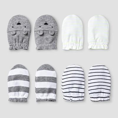 Baby 4 Pack Mitten Set - Cat & Jack™ White/Heather Gray