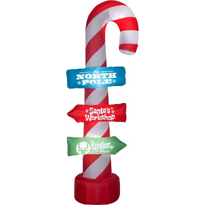Gemmy Christmas Airblown Inflatable Candy Cane w/Stacking Signs, 8 ft Tall, Multicolored