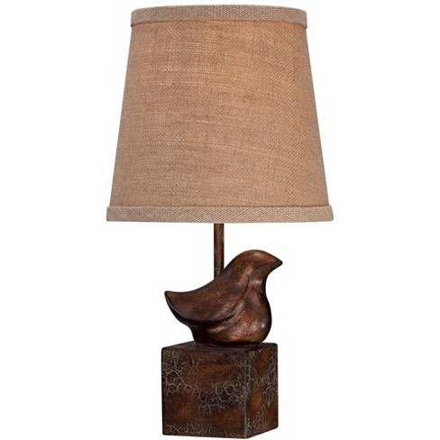 "360 Lighting Cottage Accent Table Lamp 15 1/2"" High Bronze Crackle Bird Burlap Hardback Shade for Bedroom Bedside Nightstand - image 1 of 4"