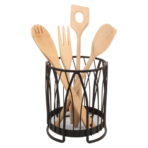 Twist Round Utensil Holder - Black