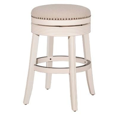 """30"""" Tillman Backless Swivel Barstool White/Beige - Hillsdale Furniture"""