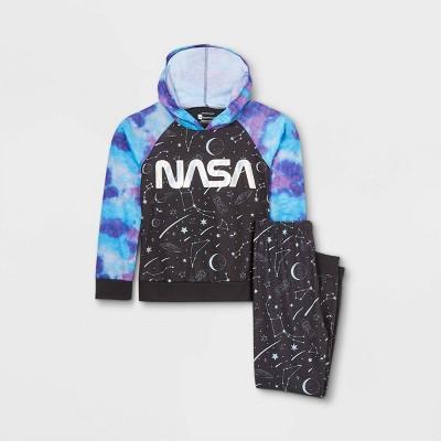 Girls' NASA 2pc Hooded Pajama Set - Black