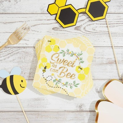 "Sparkle and Bash 50 Pack Bumble Bee Disposable Paper Napkins 5"" for Kids Birthday Baby Showers Party Supplies"