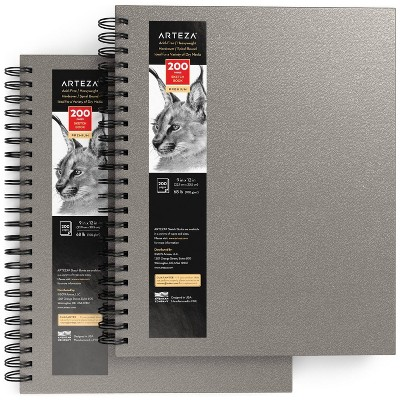"""Arteza Sketchbook, Spiral-Bound Hardcover, Gray, 9x12"""", 200 Pages of Drawing Paper Each - 2 Pack (ARTZ-9144)"""