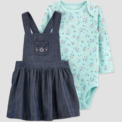 Baby Girls' Chambray Jumper Skirtall Top & Bottom Set - Just One You® made by carter's Blue 3M