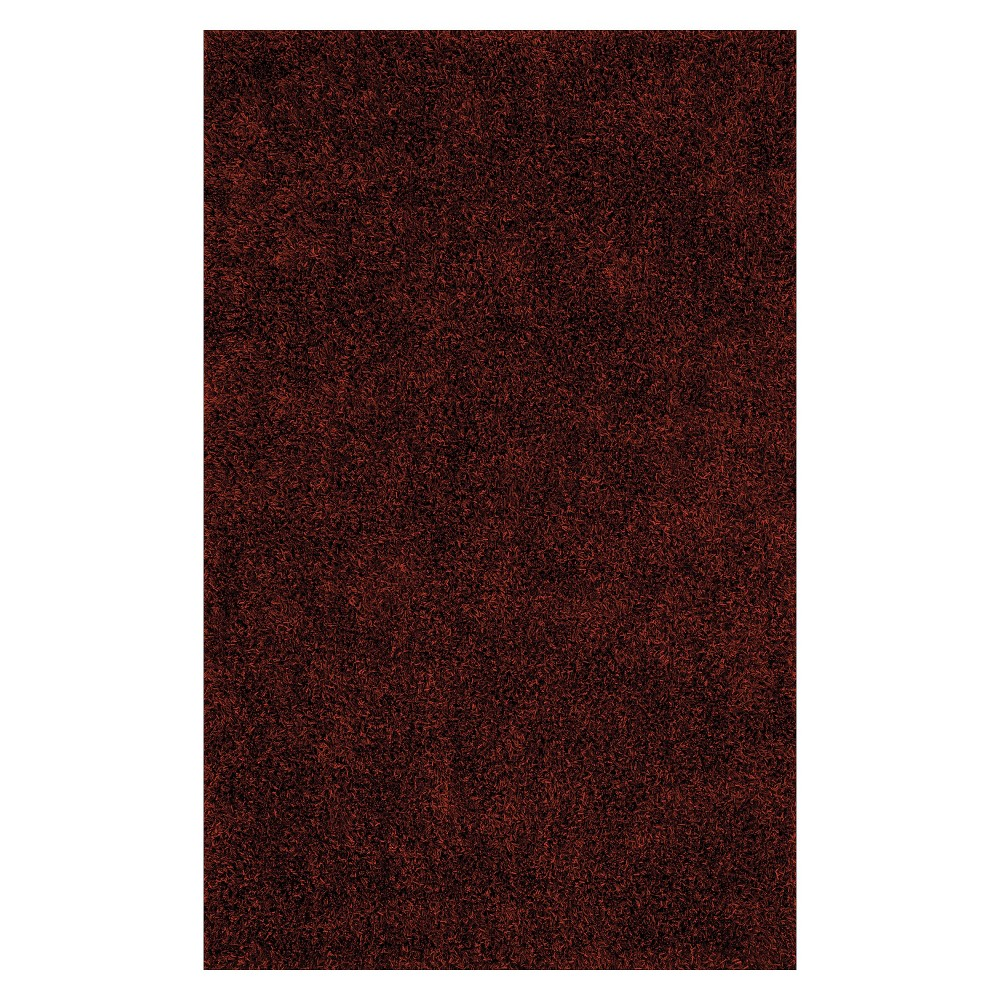 Lustrous Shoestring Shag Accent Rug - Paprika (Red) (3'6