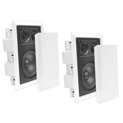 Pyle Home PDIW87 8 Inch 400 Watt 2 Way Enclosed Rectangular In-Wall/ In-Ceiling Flush Mounted Stereo Speaker System Pair, White