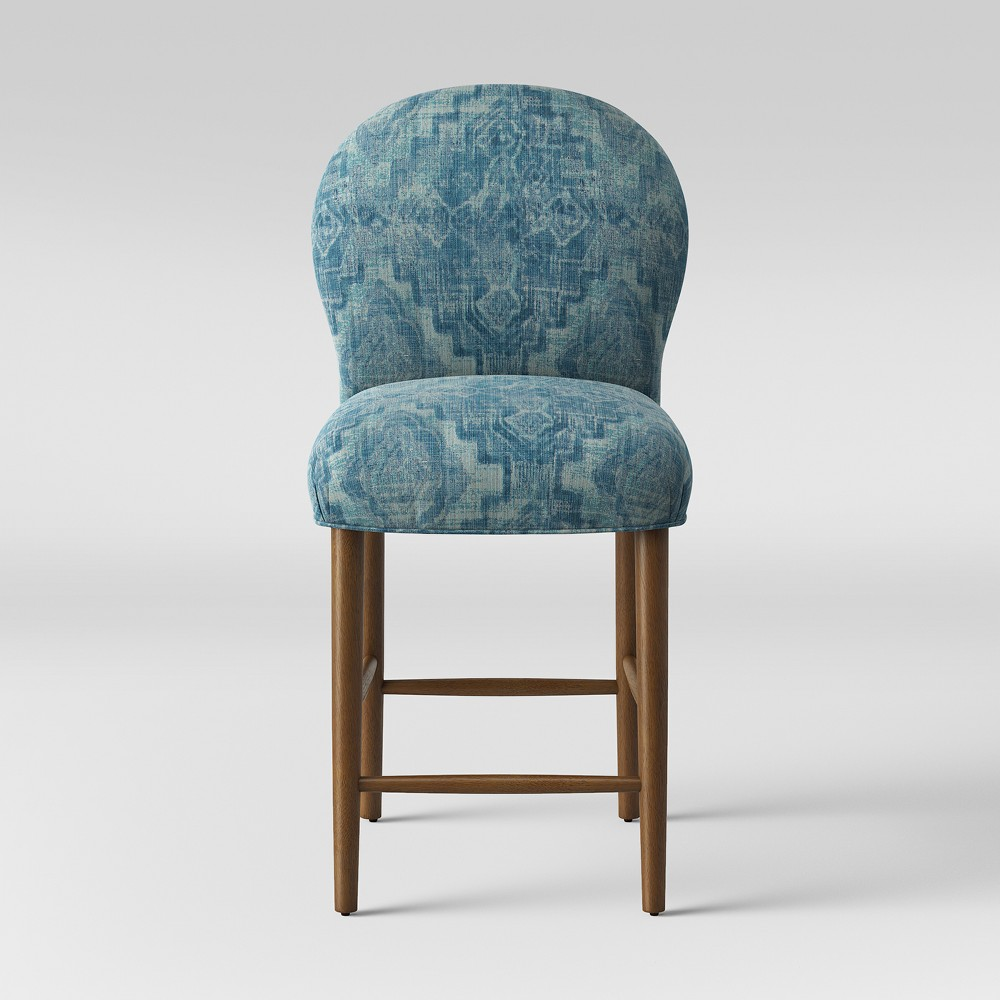 27 Caracara Rounded Back Counter Stool Blue Woven Design - Opalhouse, Blue Textured Woven