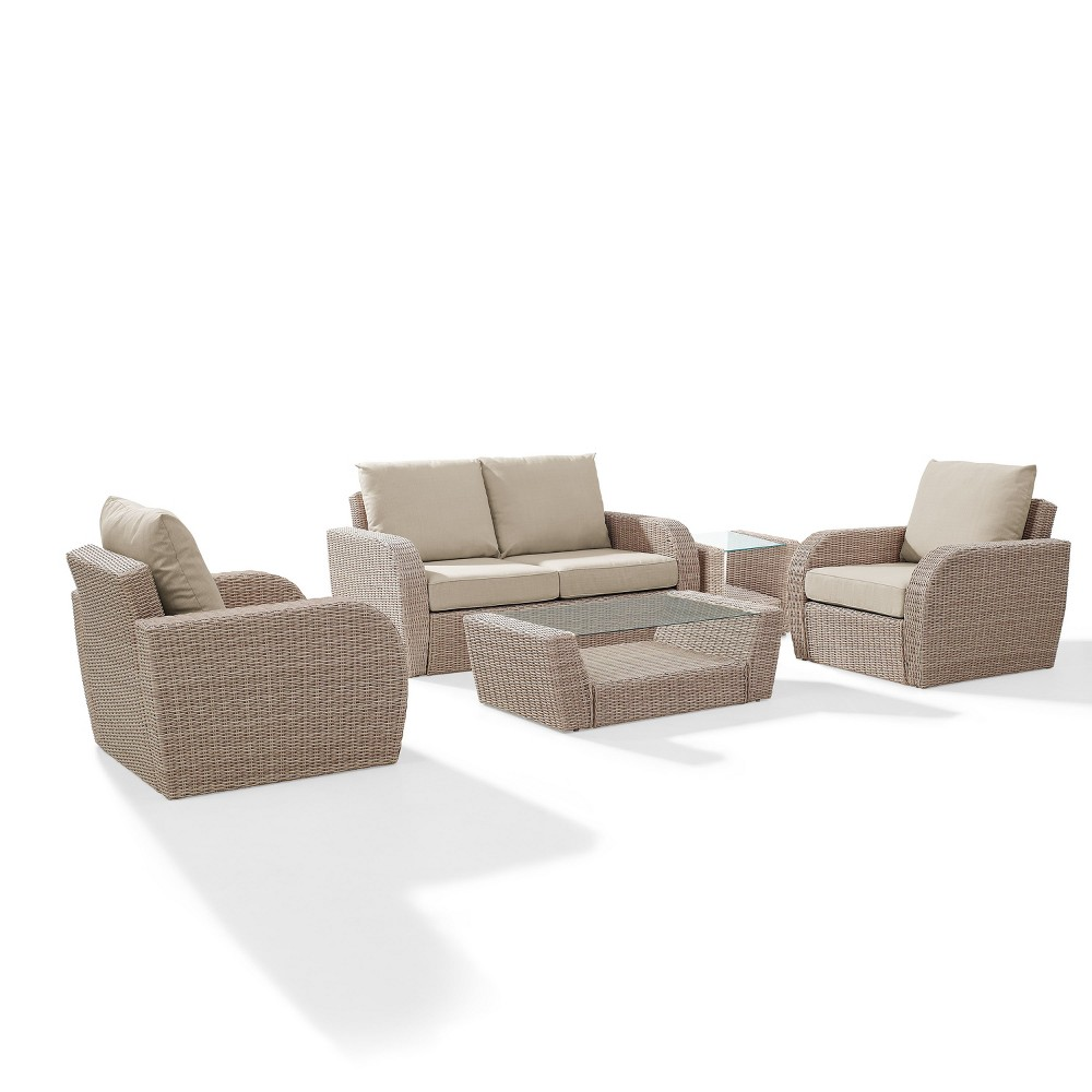 5pc St Augustine Outdoor Wicker Seating Set Oatmeal - Crosley