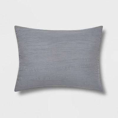 Standard Crinkle Texture Pillow Sham Gray - Room Essentials™