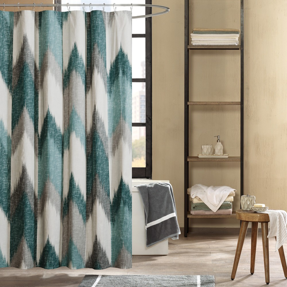 "Image of ""72""""x72"""" Alpine Cotton Printed Shower Curtain Aqua, Blue"""
