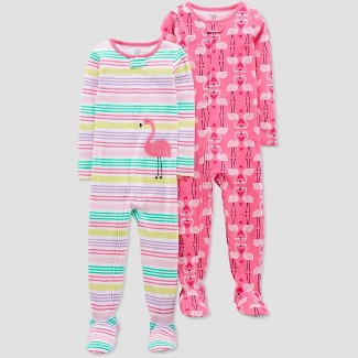Baby Girls' Pink Flamingo Stripes Poly Footed Sleepers - Just One You® made by carter's Pink 18M