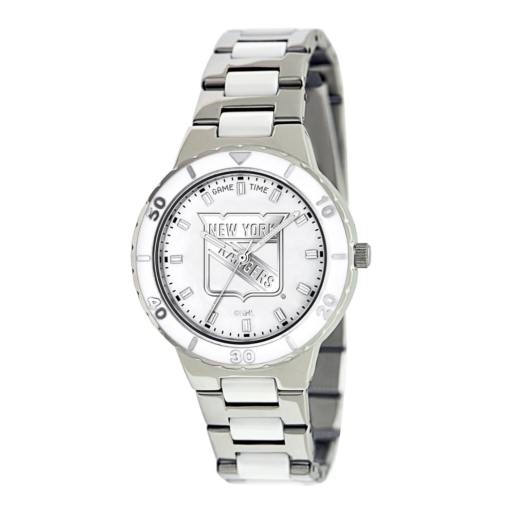 Women's Game Time NHL Pearl Sports Watch - Silver - New York Rangers