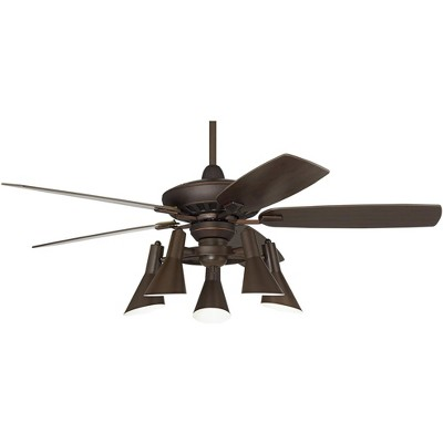 "52"" Casa Vieja Retro Ceiling Fan with Light Kit LED Dimmable Remote Oil Rubbed Bronze Adjustable 5-Light for Living Room Kitchen"