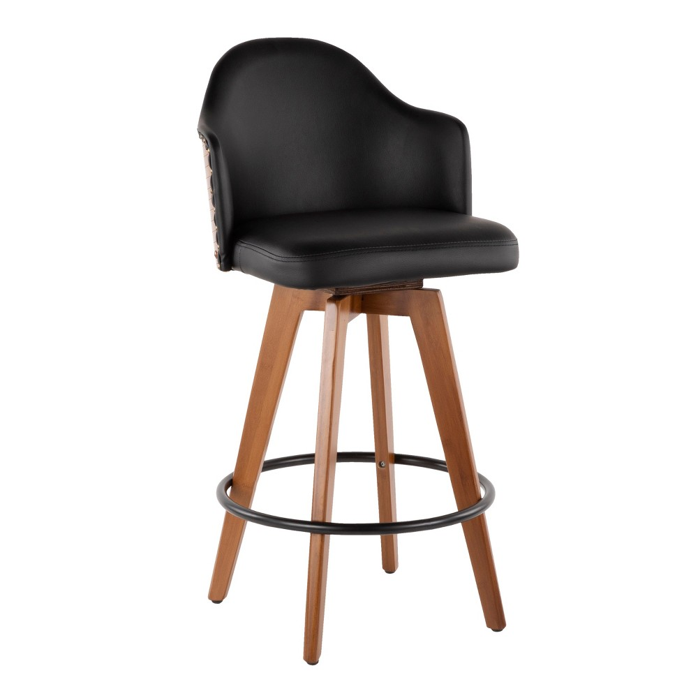 "Image of ""26"""" Ahoy Mid-Century Modern Counter Stool Walnut/Black - LumiSource, Brown/Black"""