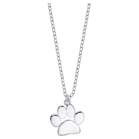 "Women's Sterling Silver Dog Paw Necklace - Silver (18"") - image 1 of 2"