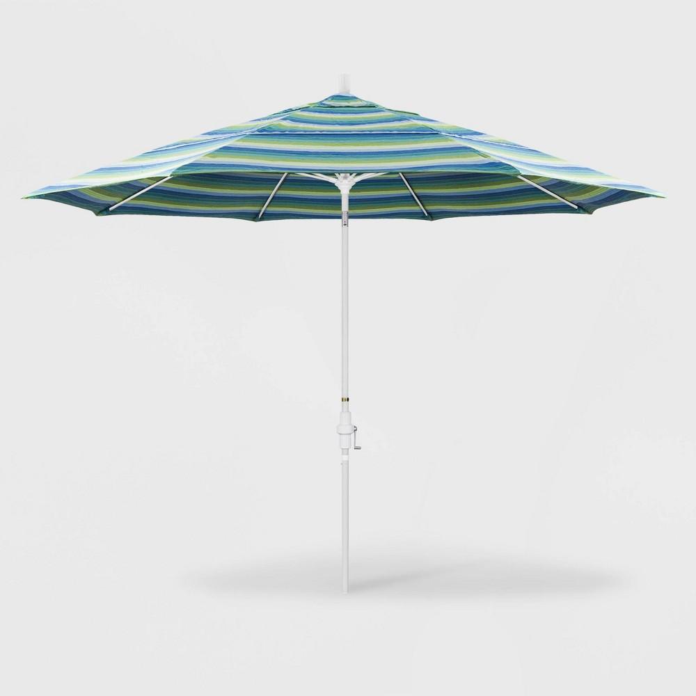 Image of 11' Sun Master Patio Umbrella Collar Tilt Crank Lift - Sunbrella Seville Seaside - California Umbrella