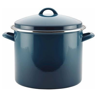 Rachael Ray Porcelain Enamel 12 Quart Covered Stock Pot - Marine Blue Gradient