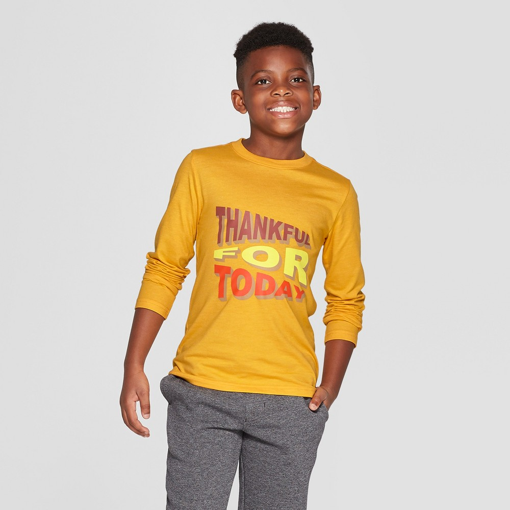 Boys' Long Sleeve Thankful Graphic T-Shirt - Cat & Jack Yellow L