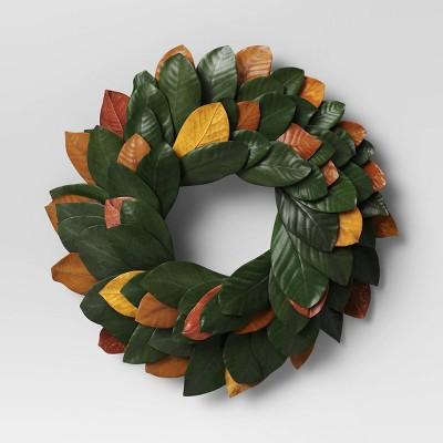 "21"" Dried Magnolia Wreath Green - Threshold™"