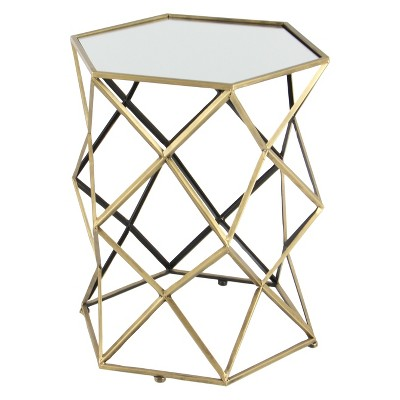 Metal and Mirror Geometric Accent Table Gold - Olivia & May