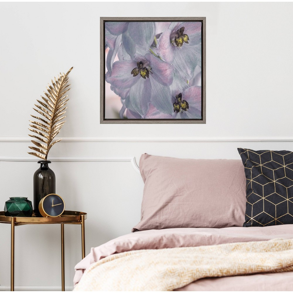 """Image of """"16"""""""" x 16"""""""" Delphinium blossoms Close-up Framed Wall Canvas Gray - Amanti Art"""""""