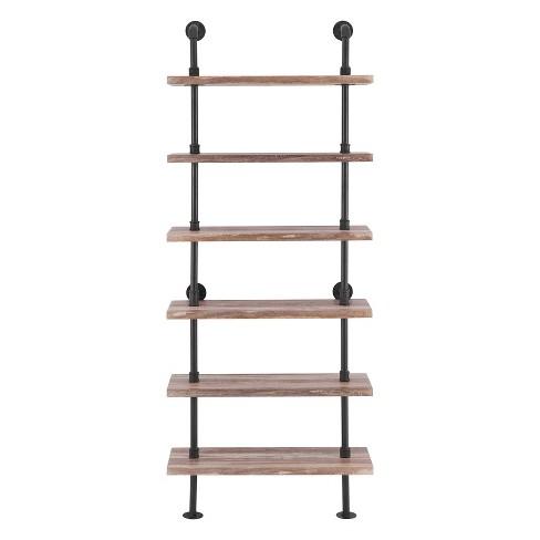 Modern Industrial 6-Tier Iron Pipe wall Mount Ladder Shelf Distressed Wood - Danya B. - image 1 of 4