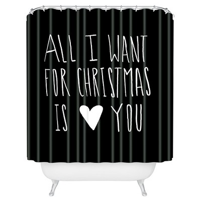 Leah Flores All I Want For Christmas Is You Shower Curtain Black Deny Designs Target