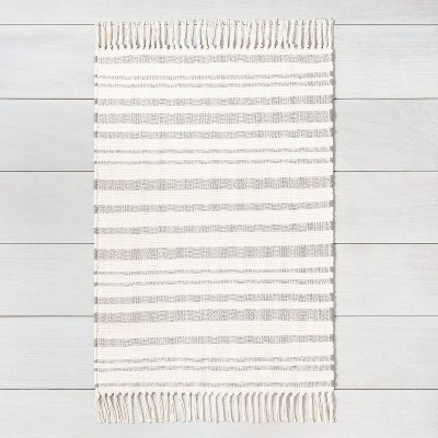 2'x3' Stripe with Fringe Area Rug Gray - Hearth & Hand™ with Magnolia