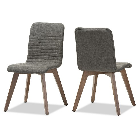 Sugar Mid-century Retro Modern Scandinavian Style Fabric Upholstered Walnut Wood Finishing Dining Chairs (Set of 2) - image 1 of 4