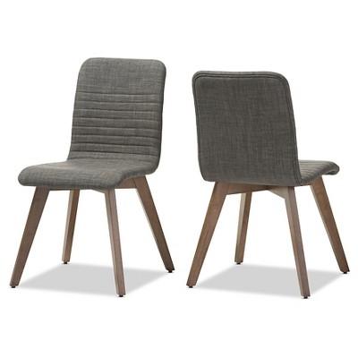 Ordinaire Sugar Mid Century Retro Modern Scandinavian Style Fabric Upholstered Walnut  Wood Finishing Dining Chairs (Set Of 2)