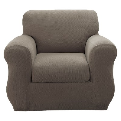 Taupe Stretch Pique Slipcover Chair - Sure Fit